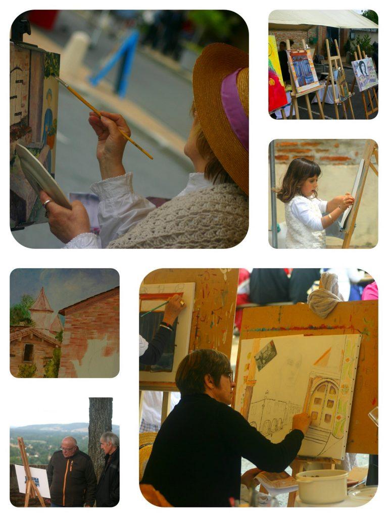 """Dès 9 heures le matin, 15 peintres se sont installés dans les rues du bourg pour le Concours """"Donner des couleurs au patrimoine"""" . Avec en particulier le superbe """"Atelier 1900"""" monté et animé par les élèves de l'Atelier K et Katia Villard."""